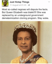 "Can i get a ""#StayWoke"" in the comments? 💯: Just Hotep Things  11 August at 01:45  Most so-called negroes will dispute the facts.  But Queen Elizabeth was blakk!!!!! She was  replaced by an underground government  demelaninization cloning program. Stay woke. Can i get a ""#StayWoke"" in the comments? 💯"