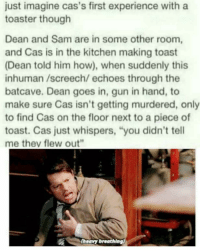 """Omg I can imagine sams face 😂😂. This would have to be when cas was human tho: just imagine cas's first experience with a  toaster though  Dean and Sam are in some other room,  and Cas is in the kitchen making toast  (Dean told him how), when suddenly this  inhuman /screech/ echoes through the  batcave. Dean goes in, gun in hand, to  make sure Cas isn't getting murdered, only  to find Cas on the floor next to a piece of  toast. Cas just whispers, """"you didn't tell  me thev flew out""""  (heavy breathlng) Omg I can imagine sams face 😂😂. This would have to be when cas was human tho"""