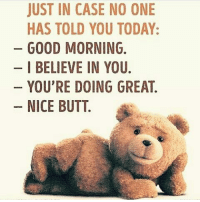 Butt, Memes, and Good Morning: JUST IN CASE NO ONE  HAS TOLD YOU TODAY:  GOOD MORNING.  I BELIEVE IN YOU  YOU'RE DOING GREAT  NICE BUTT.