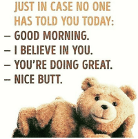 Butt, Memes, and Good Morning: JUST IN CASE NO ONE  HAS TOLD YOU TODAY:  GOOD MORNING.  I BELIEVE IN YOU  YOU'RE DOING GREAT  NICE BUTT. 😆Just in case..YOURE LOVED!!😀👊 justincase justincasenoonetoldyou today goodmorning ibelieveinyou youredoinggreat nicebutt rockyourday yousexything 😂😆😙👉@Regrann from 👉👉@hooperhayley - 😉