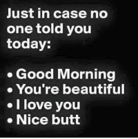 Beautiful, Butt, and Love: Just in case no  one told you  today:  . Good Morning  You're beautiful  I love you  . Nice butt Morning folks