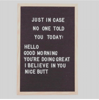 Butt, Hello, and Memes: JUST IN CASE  NO ONE TOLD  YOU TODAY:  HELLO  GOOD MORNING  YOU'RE DOING GREAT  I BELIEVE IN YOU  NICE BUTT Don't forget to lift and squat! 💥