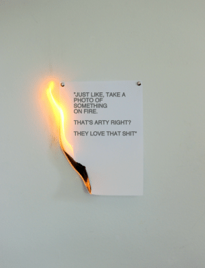 """love that shit: """"JUST LIKE, TAKE A  PHOTO OF  SOMETHING  ON FIRE.  THAT'S ARTY RIGHT?  THEY LOVE THAT SHIT"""""""
