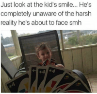 Funny, Smh, and Kids: Just look at the kid's smile... He's  completely unaware of the harsh  reality he's about to face smh This will be painful, kid. https://t.co/XTyKn3TRbO