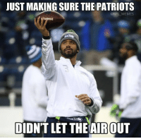 Russell Wilson checking the Patriots footballs..: JUST MAKING SURE THE PATRIOTS  @NFL MEMES  DIDNT LET THE AIROUT Russell Wilson checking the Patriots footballs..