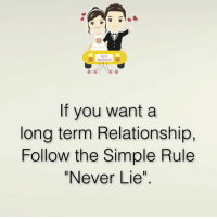 """Long Term Relationship: JUST  MARRIED  If you want a  long term Relationship,  Follow the Simple Rule  """"Never Lie"""""""