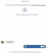 Chat, Been, and Group: Just now  You have joined the public group #deaf-association  hedinn1 has joined the chat  Welcome  0:06  You have been removed from the group Outstanding move