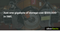 Not too bad.... Jk, that's terrible.: Just one gigabyte of storage cost $300,000  in 1981.  uber  facts Not too bad.... Jk, that's terrible.
