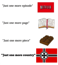 """Nazis invade half of Europe (1938-1945, colorised): """"Just one more episode""""  NETFLIX  """"Just one more page""""  """"Just one more piece""""  """"Just one more country"""" Nazis invade half of Europe (1938-1945, colorised)"""
