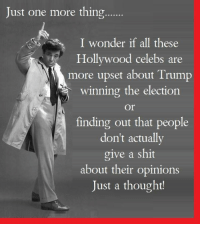Memes, 🤖, and Hollywood: Just one more thing......  I wonder if all these  Hollywood celebs are  more upset about Trump  winning the election  Or  finding out that people  don't actually  give a shit  about their opinions  Just a thought!