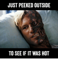 me irl: JUST PEEKED OUTSIDE  TO SEE IF IT WAS HOT me irl