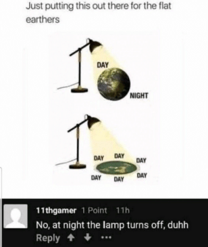 #funny #humor #lol #jokes #dank #memes #meme: Just putting this out there for the flat  earthers  DAY  NIGHT  DAY  DAY  DAY  DAY  DAY  DAY  11thgamer 1 Point 11h  No, at night the lamp turns off, duhh  Reply #funny #humor #lol #jokes #dank #memes #meme