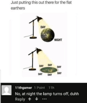 Lamp, Day, and For: Just putting this out there for the flat  earthers  DAY  NIGHT  DAY  DAY  DAY  DAY  DAY  DAY  11thgamer 1 Point 11h  No, at night the lamp turns off, duhh  Reply