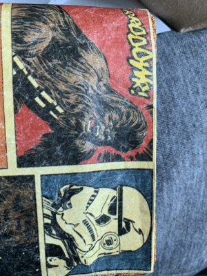 Just realized my comic book wallet is the cat meme: Just realized my comic book wallet is the cat meme