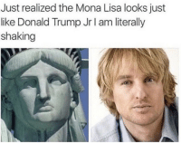 Donald Trump, Mona Lisa, and Trump: Just realized the Mona Lisa looks just  like Donald Trump Jr I am literally  shaking