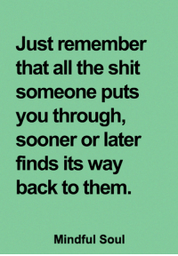 Memes, Shit, and All The: Just remember  that all the shit  someone puts  you through,  sooner or later  finds its way  back to them.  Mindful Soul <3