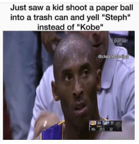 """Just saw a kid shoot a paper ball  into a trash can and yell """"Steph""""  instead of """"Kobe""""  SPORTS NET  LIVE  @cleanestdipz  4TH :25.5 22 Hell nah"""