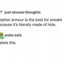 Memes, 🤖, and Hide: just-shower thoughts  eather armour is the best for sneaki  ecause it's literally made of hide.  order sols  elete this I'm cold