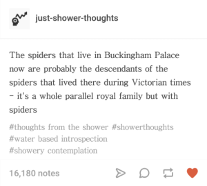 Family, Royal Family, and Shower: just-shower-thoughts  The spiders that live in Buckingham Palace  now are probably the descendants of the  spiders that lived there during Victorian times  it's a whole parallel royal family but with  spiders  #thoughts from the shower #showerthoughts  #water based introspection  #showery contemplation  16,180 notes The true aristocrats
