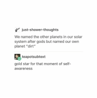 """Thank you for the birthday wishes! 💗🎉: just-shower-thoughts  We named the other planets in our solar  system after gods but named our own  planet """"dirt""""  teapotsubtext  gold star for that moment of self-  awareness Thank you for the birthday wishes! 💗🎉"""
