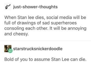 Shower, Shower Thoughts, and Social Media: just-shower-thoughts  When Stan lee dies, social media will be  full of drawings of sad superheroes  consoling each other. It will be annoying  and cheesy.  starstrucksnickerdoodle  Bold of you to assume Stan Lee can die. Bold of you.