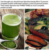 Beef, Beef, and Dieting: Just thought you should know Spirulina boasts 65 to 71 percent  complete protein while beef contains a mere 22 percent protein.  That means Spirulina has THREE TIMES as much complete  protein as beef. Go out there and do your own research, don't die Middle-aged of self induced cancer because you didn't spend a few days reading, watching documentaries and a few months trying a whole foods plant based diet. famfoods