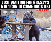 Memes, 🤖, and Snuff: JUST WAITING FOR GRIZZLY'S  6 IN 1 CAN TO COME BACK LIKE  @CHRISDIPS1  MUDJUG  portable spittoons C'mon American Snuff Co mudjug dip30 grizzly photo by @chrisdips1