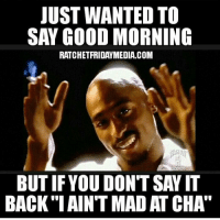 Word.....: JUST WANTED TO  SAY GOOD MORNING  RATCHET FRIDAYMEDIA.COM  BUT IF YOU DONT SAYIT  BACK IAINT MADATCHA Word.....