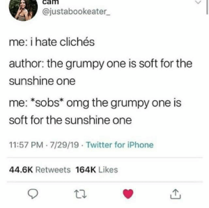 cliches: @justabookeater  me: i hate clichés  author: the grumpy one is soft for the  sunshine one  me: *sobs* omg the grumpy one is  soft for the sunshine one  11:57 PM 7/29/19 Twitter for iPhone  44.6K Retweets 164K Likes