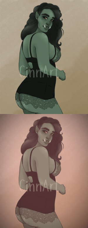 justanartsysideblog:  So our DnD group came across an Orc pin-up that of course a bunch of useless Lesbians kept. So I had to draw her in all her glory.: justanartsysideblog:  So our DnD group came across an Orc pin-up that of course a bunch of useless Lesbians kept. So I had to draw her in all her glory.