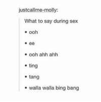 Bing, Banging, and Ting: justcallme-molly:  What to say during sex  ee  ooh ahh ahh  ting  tang  walla walla bing bang you're welcome
