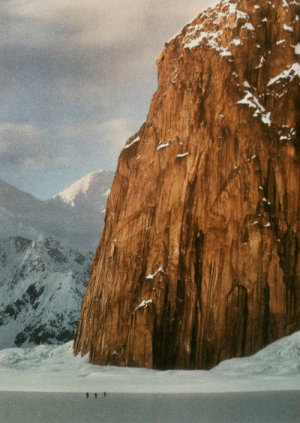 justenoughisplenty:Imposing granite monolith known as the Gargoyle rises 1,500 feet above a trip of cross-country skiers on Ruth Glacier in the Great Gorge.National Geographic - August, 1992: justenoughisplenty:Imposing granite monolith known as the Gargoyle rises 1,500 feet above a trip of cross-country skiers on Ruth Glacier in the Great Gorge.National Geographic - August, 1992