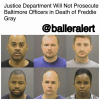 """Memes, Police, and Baltimore: Justice Department Will Not Prosecute  Baltimore Officers in Death of Freddie  Gray  @balleralert Justice Department Will Not Prosecute Baltimore Officers in Death of Freddie Gray – blogged by @MsJennyb ⠀⠀⠀⠀⠀⠀⠀ ⠀⠀⠀⠀⠀⠀⠀ On Tuesday, the Justice Department announced that six Baltimore police officers will face no federal charges in the 2015 death of FreddieGray, the 25-year-old back man who suffered a fatal spinal cord injury while in police custody. ⠀⠀⠀⠀⠀⠀⠀ ⠀⠀⠀⠀⠀⠀⠀ """"After an extensive review of this tragic event, conducted by career prosecutors and investigators, the Justice Department concluded that the evidence is insufficient to prove beyond a reasonable doubt that Officer Caesar Goodson, Officer William Porter, Officer Garrett Miller, Officer Edward Nero, Lt. Brian Rice, or Sgt. Alicia White willfully violated Gray's civil rights,"""" the Department of Justice said in a statement. ⠀⠀⠀⠀⠀⠀⠀ ⠀⠀⠀⠀⠀⠀⠀ The incident occurred back in April of 2015 when Gray was arrested and charged for possession of a switchblade after running from the cops. Following his arrest, Gray was placed in a police van, still in cuffs, but unsecured by a seatbelt. He died a week later. ⠀⠀⠀⠀⠀⠀⠀ ⠀⠀⠀⠀⠀⠀⠀ Gray's death sparked massive protests and unrest in Baltimore. Six officers were charged in the death of Gray, but more than a year later, the charges were dropped against three officers, after the other three had previously been acquitted. ⠀⠀⠀⠀⠀⠀⠀ ⠀⠀⠀⠀⠀⠀⠀ """"The officers made no admissions that would allow us to prove that any of the officers were actually aware that transporting Gray without a seat belt in back of a police wagon would create a substantial risk of serious harm. The department also cannot prove that the officers received training regarding substantial risks or harms associated with the transportation of un-seat-belted detainees. The department reviewed longstanding BPD policies for seat-belting that were in effect until just days before Gray's arrest, and th"""