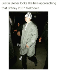 Justin Bieber looks like he's approaching  that Britney 2007 Meltdown Niggas is like 20 going thru a mid life crisis! 😂😂😂