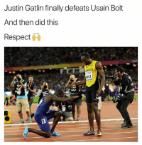 JustinGatlin showing respect to the king UsainBolt . Bolt WorldAthleticsChampionship London2017 KraksNews: Justin Gatlin finally defeats Usain Bolt  And then did this  Respect  TDK  OLT  AF JustinGatlin showing respect to the king UsainBolt . Bolt WorldAthleticsChampionship London2017 KraksNews