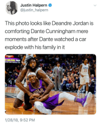 """Blackpeopletwitter, DeAndre Jordan, and Family: Justin Halpern _  @justin_halpern  This photo looks like Deandre Jordan is  comforting Dante Cunningham mere  moments after Dante watched a car  explode with his family in it  23  1/28/18, 9:52 PM <p>""""There's nothing you can do for them!"""" (via /r/BlackPeopleTwitter)</p>"""