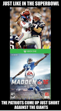 Odell Beckham Jr. beat Rob Gronkowski to be the cover of Madden 16.: JUSTLIKEIN THE SUPERBOWL  XBOX ONE  @NFLMEMEL  EA  SPORTS  MADDEN  RPI  NFLPA  THE PATRIOTS COME UP JUST SHORT  AGAINST THE GIANTS Odell Beckham Jr. beat Rob Gronkowski to be the cover of Madden 16.