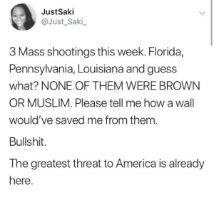 And the media all but whisper the stories by O-shi MORE MEMES: JustSaki  @Just_Saki  3 Mass shootings this week. Florida,  Pennsylvania, Louisiana and guess  what? NONE OF THEM WERE BROWN  OR MUSLIM. Please tell me how a wall  would've saved me from them  Bullshit.  The greatest threat to America is already  here And the media all but whisper the stories by O-shi MORE MEMES