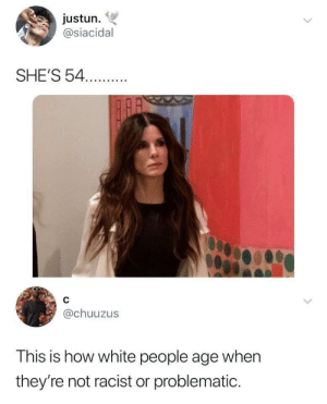 Dank, Memes, and Target: justun.  @siacidal  SHE'S 54.  @chuuzus  This is how white people age when  they're not racist or problematic. True or not? by hereTofeelGood MORE MEMES