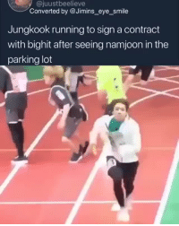Destiny, Rap, and Teacher: @juustbeelieve  Converted by @Jimins_eye_smile  Jungkook running to sign a contract  with bighit after seeing namjoon in the  parking lot ~* do you ever stop and think how lucky we are to all 7 members of bts  like what if jin had debuted with exo or what if namjoon hadn't convinced big hit and  hobi to stay what if jungkook hadn't heard namjoon rap . . what if tae tae hadn't accompanied his friend to the big hit auditions what if jimins teacher had't encouraged him to audition for big hit  the hell with what if's . . what matters is that it all happened and we have them, all 7 of them today . . it was fate and destiny *~cr: jusstbeelieve
