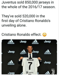 Adidas, Being Alone, and Cristiano Ronaldo: Juventus sold 850,000 jerseys in  the whole of the 2016/17 season.  They've sold 520,000 in the  first day of Cristiano Ronaldo's  unveilina alone  Cristiano Ronaldo effect.  Jeep  Jeep  adidaS  adidaS  Jeep ^  Jeep didas  adide  RONALDO  Jeep  adidaS  JUUENTUS  Cygames  Jeep