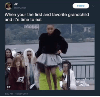 Blackpeopletwitter, Gif, and Time: JZ  johnZirker  Follow  When your the first and favorite grandchild  and it's time to eat  GIF  8:50 AM 15 Nov 2017 <p>Wait your turn (via /r/BlackPeopleTwitter)</p>