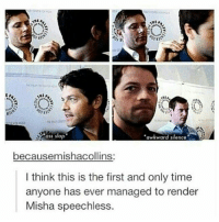 Ass, Memes, and Awkward: K'  ass slap  awkward silence  becausemishacollins:  I think this is the first and only time  anyone has ever managed to render  Misha speechless Hehe ass slap . . . Supernatural deanwinchester samwinchester jaredpadalecki jensenackles destiel castiel mishacollins hellismybitch