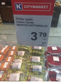 Candy, Finnish Language, and Cotton Candi: K CITYMARKET  Pirkka rypale  Cotton Candy  MAISTUU HATTARALLE!  rasia  948  suuttilllllllllllll
