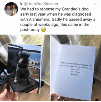 Club, Dad, and Hello: k @HamiltonKierann  We had to rehome my Grandad's dog  early last year when he was diagnosed  with Alzheimers. Sadly he passed away a  couple of weeks ago, this came in the  post today  Hello, I'm on my holidays in Spain. I'm  sorry to hear about my Dad. He was very  kind to me.  Lots of Love  Winston Post 1181: again, I Cryeth in the club