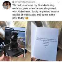 Dad, Hello, and Love: k @HamiltonKierann  We had to rehome my Grandad's dog  early last year when he was diagnosed  with Alzheimers. Sadly he passed away a  couple of weeks ago, this came in the  post today  Hello, I'm on my holidays in Spain. I'm  sorry to hear about my Dad. He was very  kind to me.  Lots of Love  Winston Im sorry to hear about my Dad. He was very kind to me.