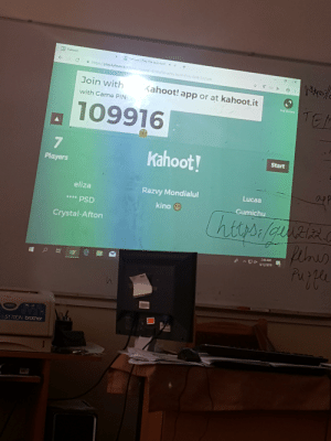Kahoot, Game, and Brother: K Kahoot  Koo Pry ths qu now  x  https//playkahoot.ito  izid 4330aSb-a2s 429 5d413325  Join with  Kahoot! app or at kahoot.it  TE  Full Scr  with Game PIN:  109916  7  Kahoot!  Start  Players  Lucaa  Razvy Mondialul  eliza  Gumichu  kino  PSD  **E  htts:/g Ri  Crystal-Afton  AM  Purpe  45170DN brother quick join