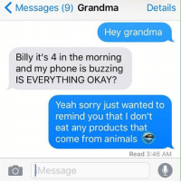 Animals, Anime, and Dieting: K Messages (9) Grandma  Details  Hey grandma  Billy it's 4 in the morning  and my phone is buzzing  IS EVERYTHING OKAY?  Yeah sorry just wanted to  remind you that I don't  eat any products that  come from animals  Read 3:46 AM  Message Plant based diet memes
