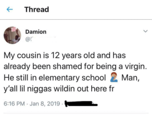 They be wildin out here by heyheymonika1 MORE MEMES: K-Thread  Damion  @l  My cousin is 12 years old and has  already been shamed for being a virgin  He still in elementary school Man  y'all lil niggas wildin out here fr  6:16 PM Jan 8, 2019 They be wildin out here by heyheymonika1 MORE MEMES