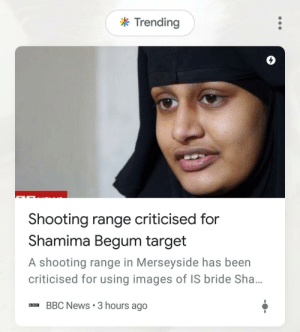 It really do be like that: k Trending  4  Shooting range criticised for  Shamima Begum target  A shooting range in Merseyside has been  criticised for using images of IS bride Sha...  BBC News 3 hours ago It really do be like that